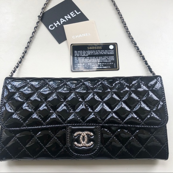 8be4184003b8 CHANEL Handbags - CHANEL Patent Calfskin Quilted East West Clutch